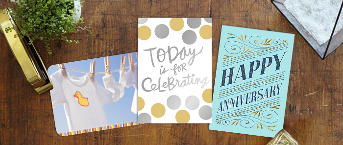 From playful photography to foil and elegance, find the right card design to celebrate employee life events.